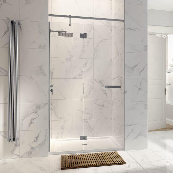 .dilusso .dNINE Hinge and Inline Door (Recess) 900mm Shower Door-0