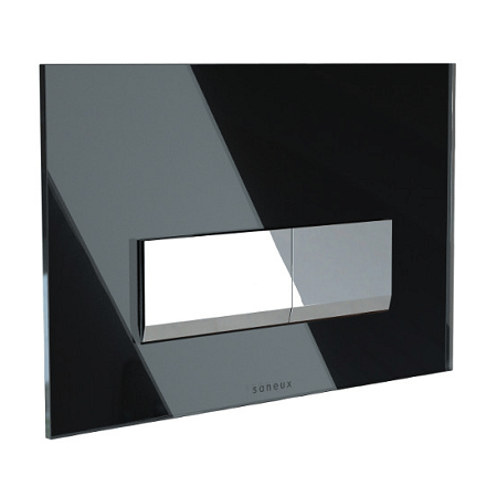 Saneux Flushe 2.0 Black Square Glass Flush Plate FP152-0