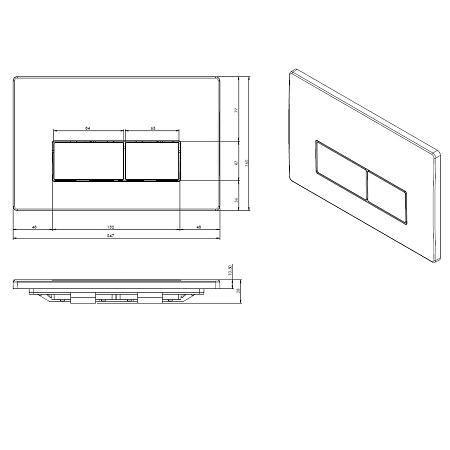 Saneux Flushe 2.0 Square Stainless Steel Flush Plate FP161-15210