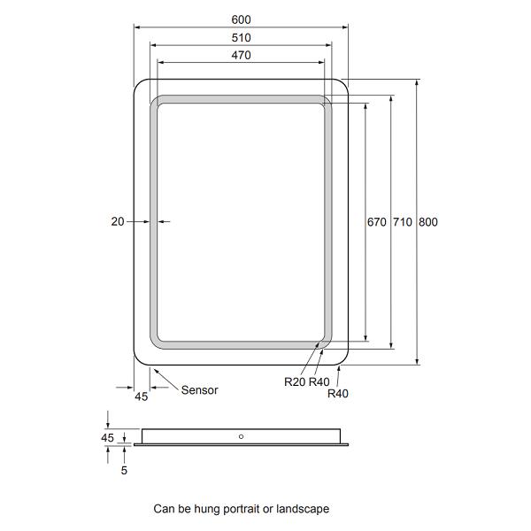 Bauhaus Celeste 60 x 80cm LED Back Lit Mirror MF8060B+-15687