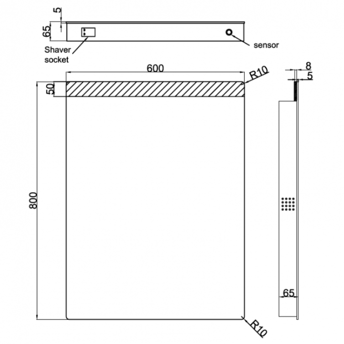 Bauhaus Revive 3.0 600x800mm Bluetooth LED Mirror MEB8060C-15704