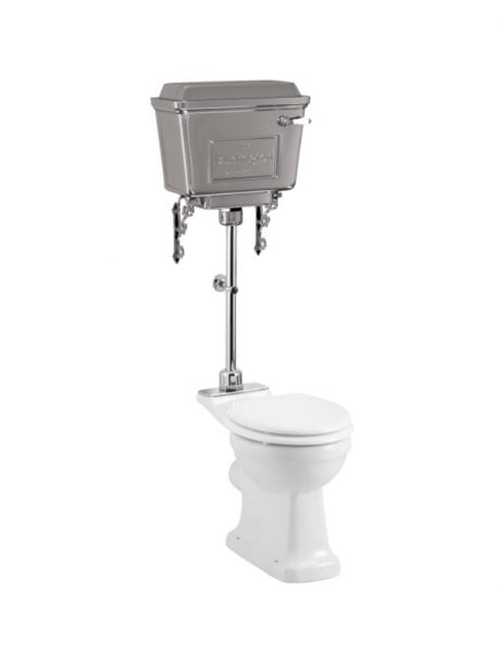 Burlington Standard Pan with Chrome Aluminium Cistern and medium-level flush pipe kit-0