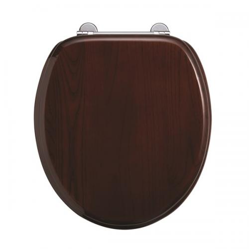 Burlington Wooden Mahogany Standard Close Toilet Seat -0