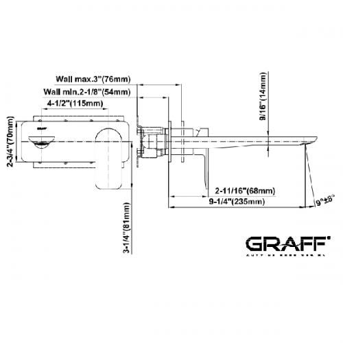 Graff Sento Wall Mounted 235mm Spout Basin Mixer-15299
