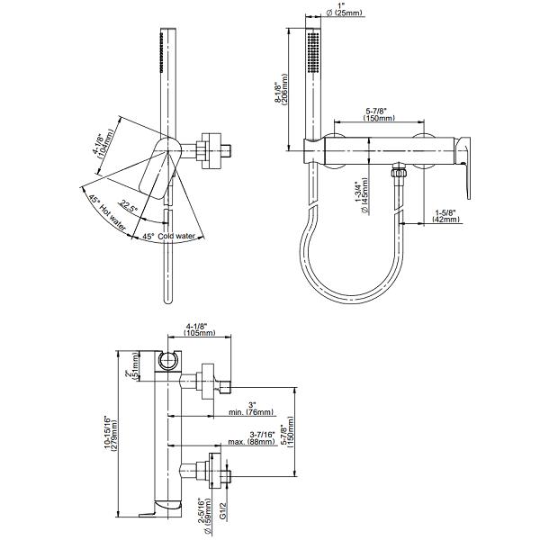 Graff Sento Wall Mounted Shower Mixer Set With Handset-15377