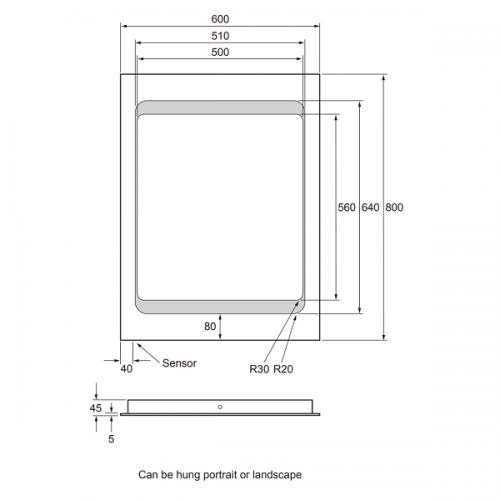 Bauhaus Linea 800 x 600mm LED Back Lit Mirror MF8060A+-15678