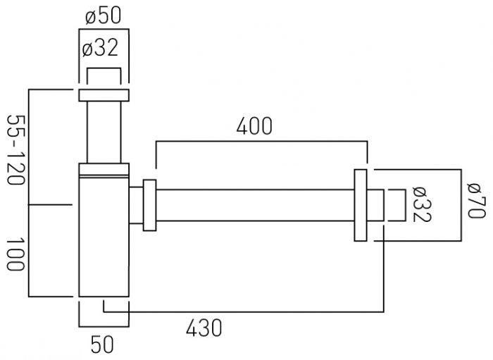 Stock Vado modern basin bottle trap PEX-461/UK-1.1/4-C/P