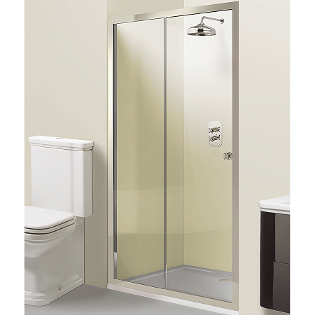 Simpons Arcade 1400mm Polished Nickel Single Sliding Door-0