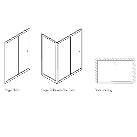 Simpsons Arcade 900mm Polished Nickel Clear Glass Side Panel-15221
