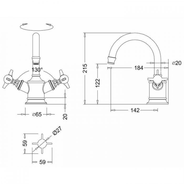 Arcade Nickel Dual Mono Basin Mixer 139.ARC14