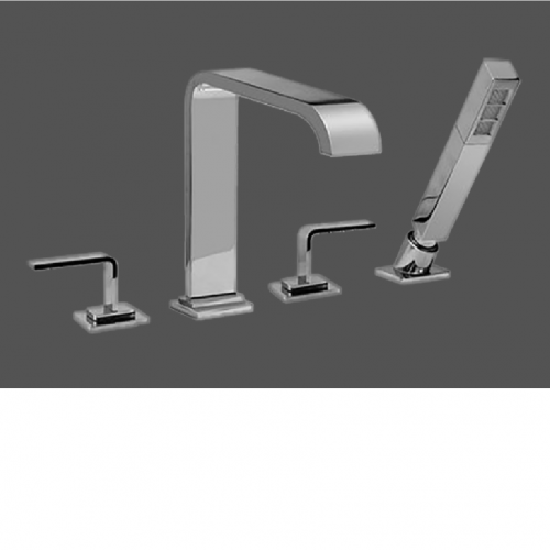 Graff Immersion Polished Chrome Deck Mounted Bathtub Mixer with Hand Shower Set