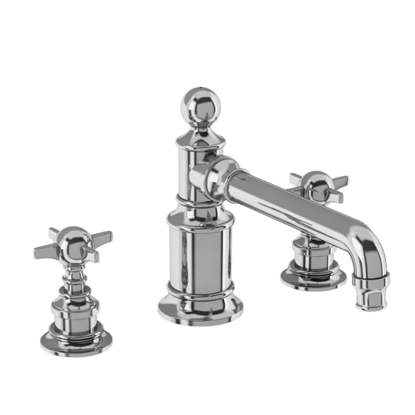 Arcade Chrome Wall Mounted 3 Hole Basin Mixer No Waste-0