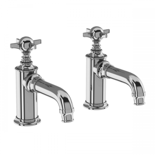 Arcade Chrome Deck Mounted Pair Of Basin Pillar Taps-0