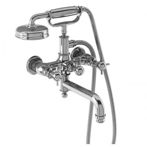 Arcade Chrome Crosshead Wall Mounted Bath Shower Mixer-0