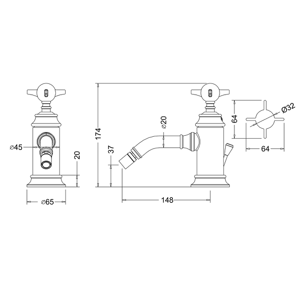 Arcade Nickel Crosshead Bidet Mixer Tap With Pop Up Waste-16157