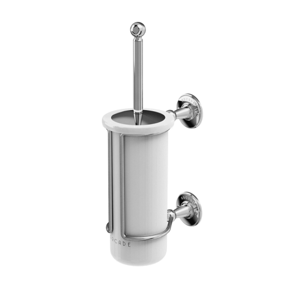 Arcade Chrome Wall Mounted Toilet Brush And China Holder