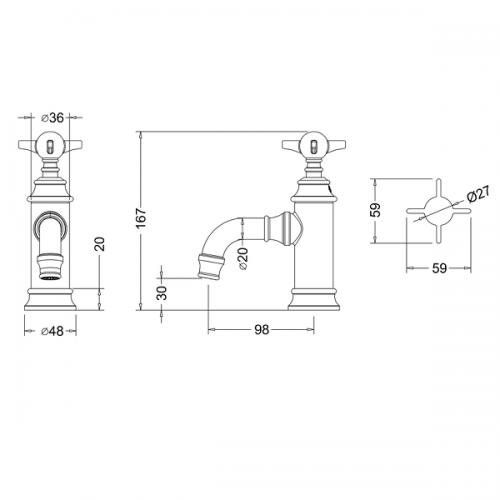 Arcade Nickel Single Handle Crosshead Basin Mini Mixer-15950