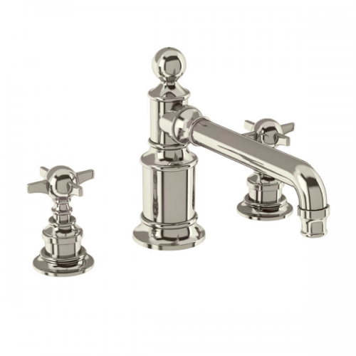 Arcade Nickel Deck Mounted 3 Hole Crosshead Basin Mixer-0