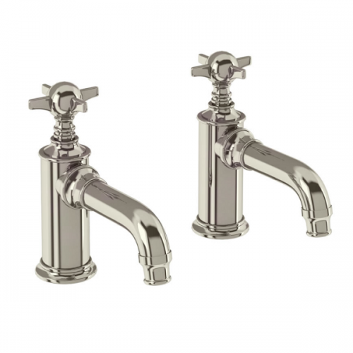 Arcade Nickel Plated Deck Mounted Pair Of Basin Pillar Taps-0
