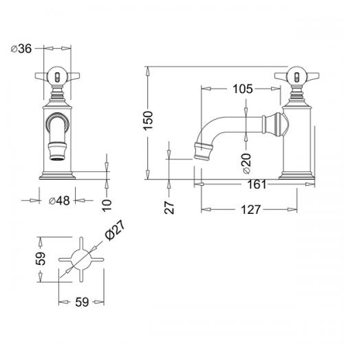Arcade Nickel Plated Deck Mounted Pair Of Basin Pillar Taps-16031