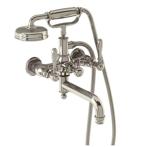 Arcade Nickel Crosshead Wall Mounted Bath Shower Mixer-16105