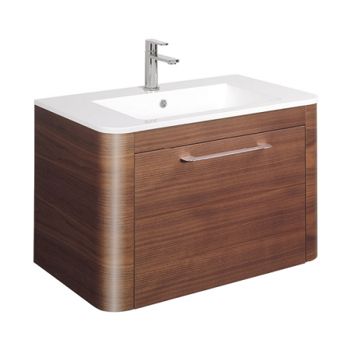 Bauhaus Celeste 80 American Walnut Drawer Unit And Basin-0