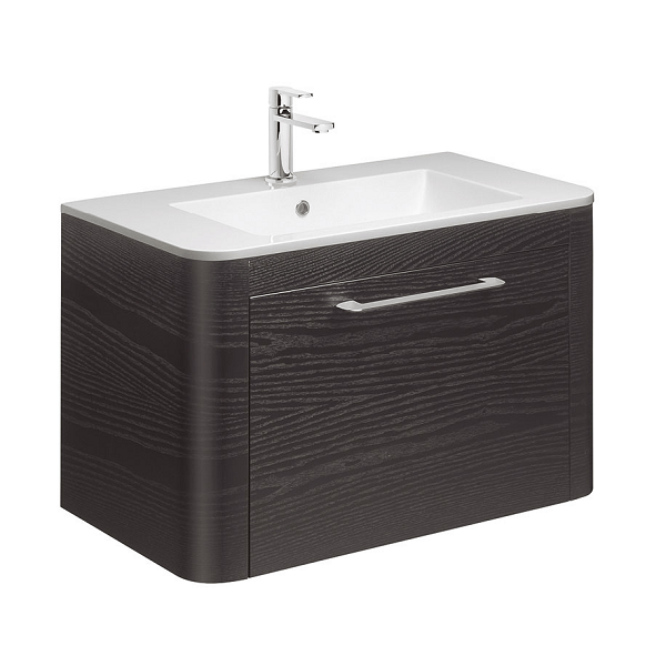 Bauhaus Celeste 80 Black Ash Single Drawer Unit And Basin-0