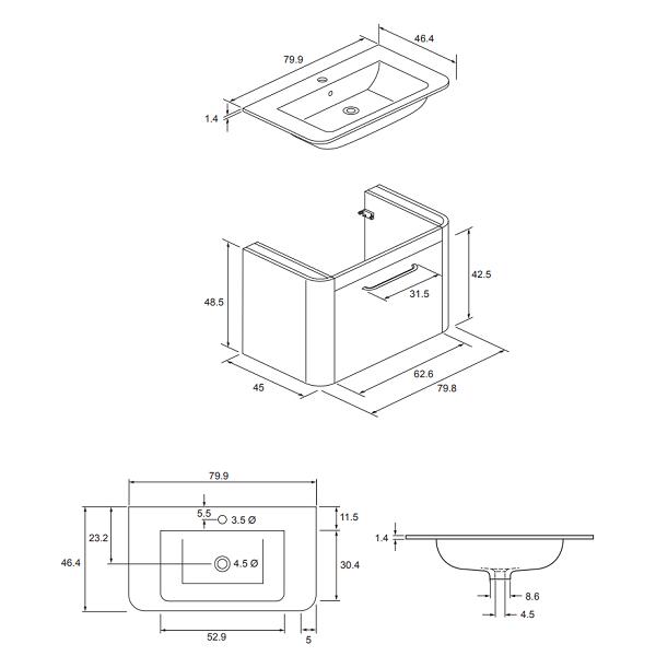 Bauhaus Celeste 80 Black Ash Single Drawer Unit And Basin-15772