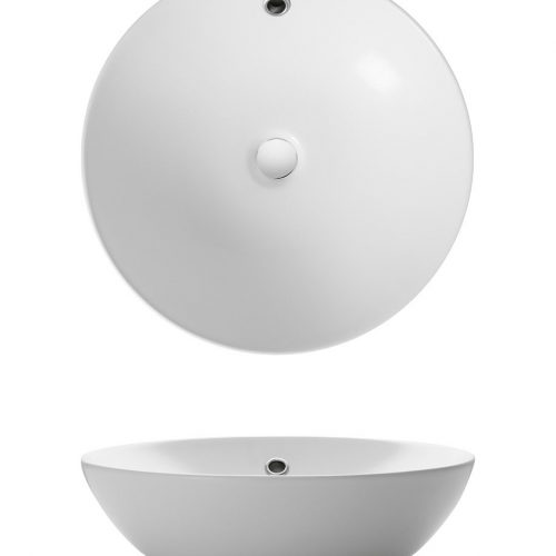 Bauhaus Castellon Round Countertop Basin with Overflow CT021BSCW+