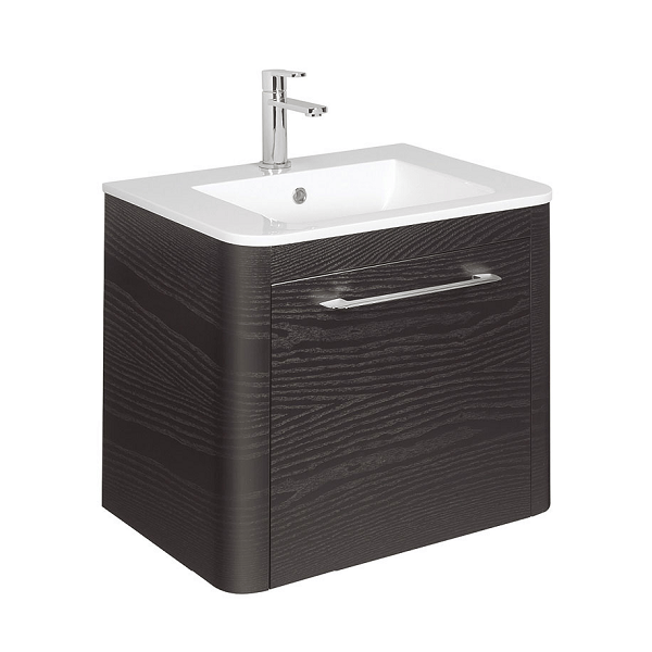 Bauhaus Celeste 60 Black Ash Single Drawer Unit and Basin-0