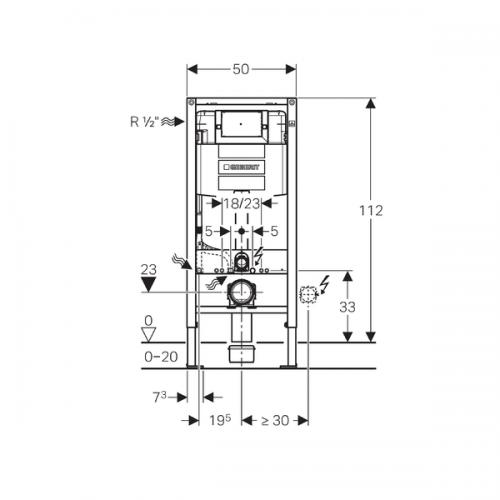 Geberit Omega 112cm PreWall Frame And 12cm Cistern-16382