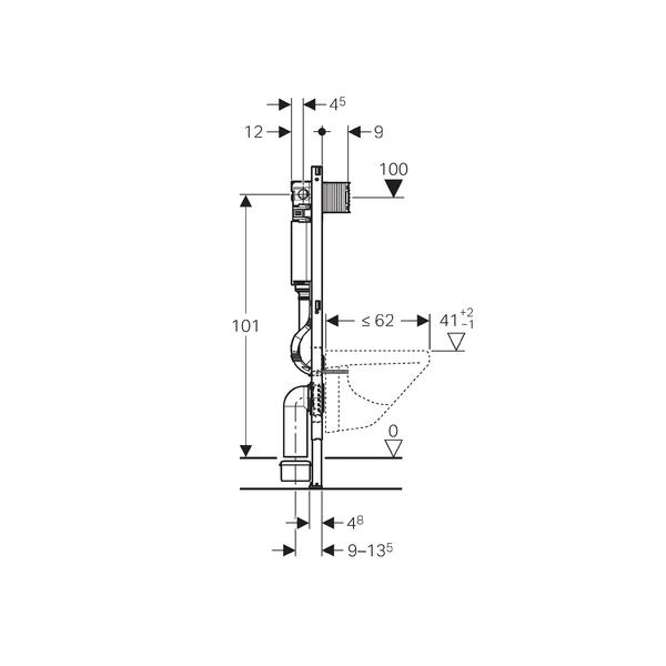Geberit Omega 112cm PreWall Frame And 12cm Cistern-16380