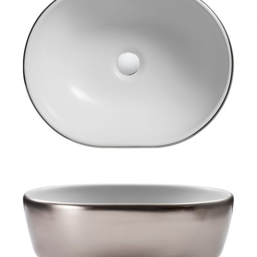 Bauhaus Pearl Platinum Long Countertop Basin CT05823UCP