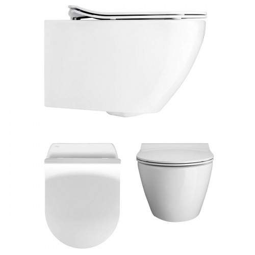 Crosswater Svelte White Wall Hung WC Pan With Thin SC Seat-0