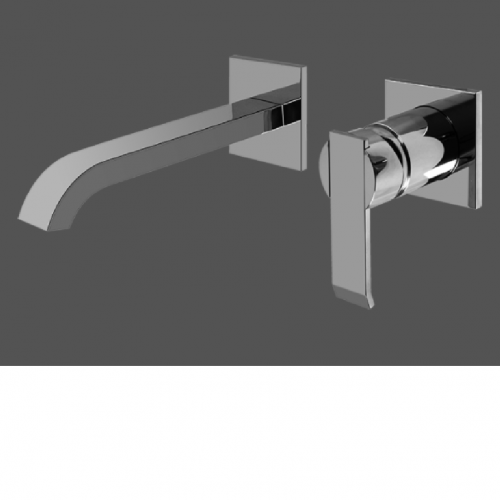 Graff Qubic Polished Chrome Wall Mounted Basin Mixer 19cm Spout - Exposed Parts