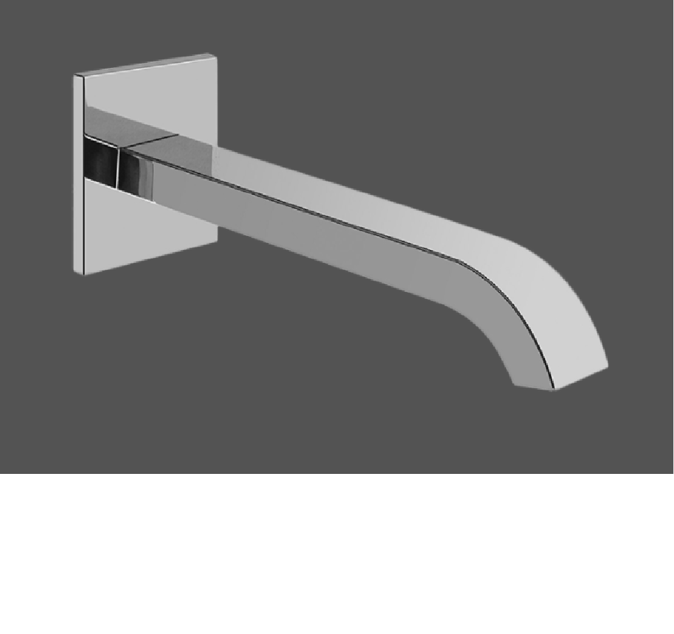 Graff Qubic Tre Polished Chrome Wall Mounted Washbasin Spout - 19cm 2371700