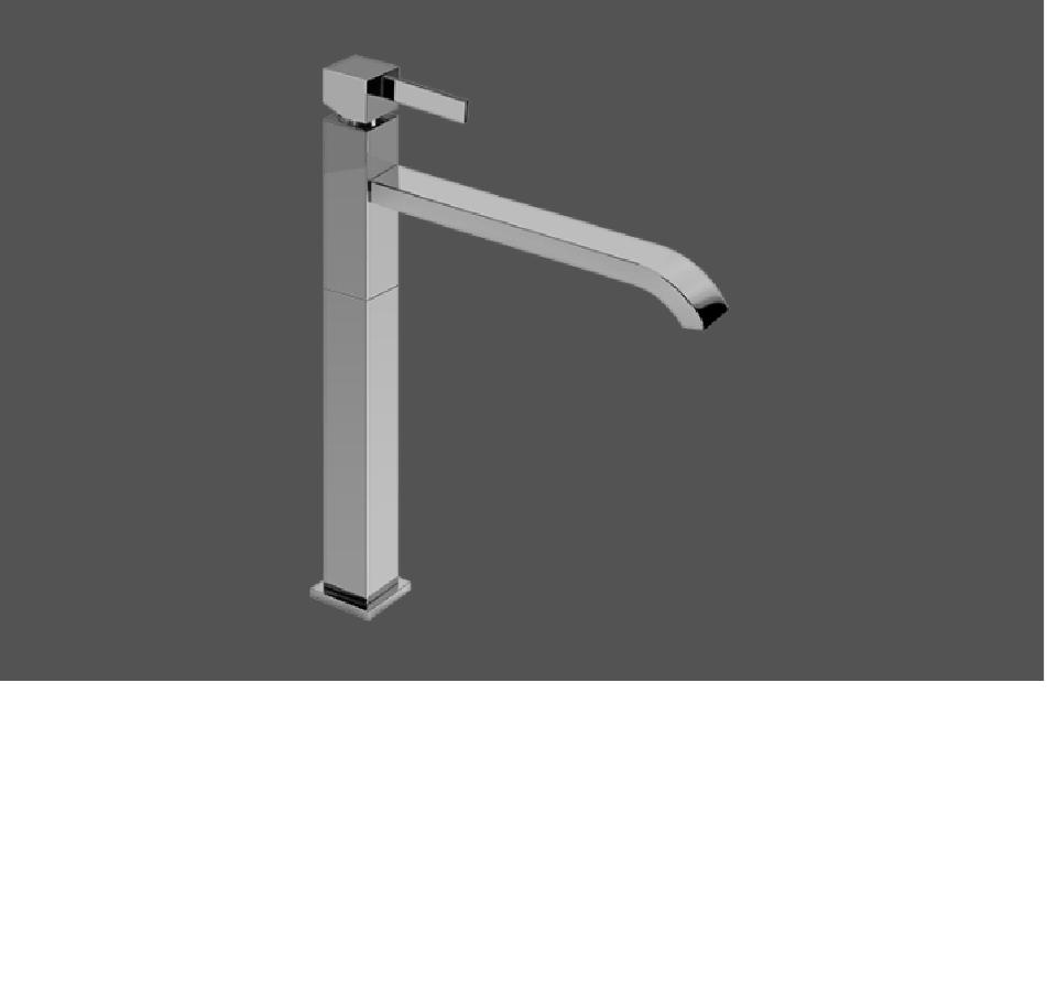 Graff Qubic Tre Polished Chrome High Single Lever Basin Mixer 21cm Spout