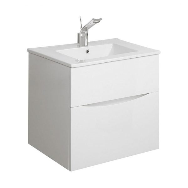 Crosswater Glide II Wall Mounted 500 White Gloss Unit And Slim Basin