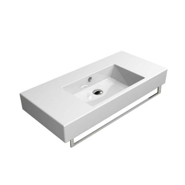 GSI Kube 100 Wall Mounted 1 Tap Hole Basin With Spacious Sides-0