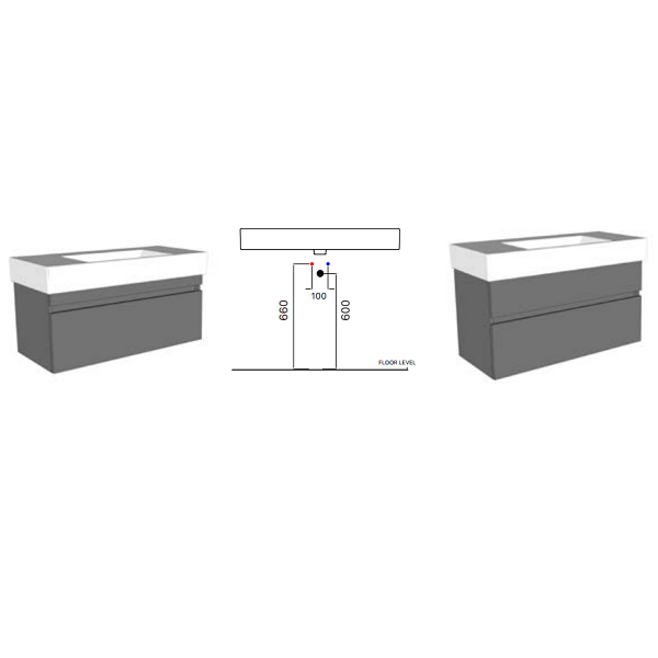 GSI Kube 100 Wall Mounted 1 Tap Hole Basin With Spacious Sides-17056