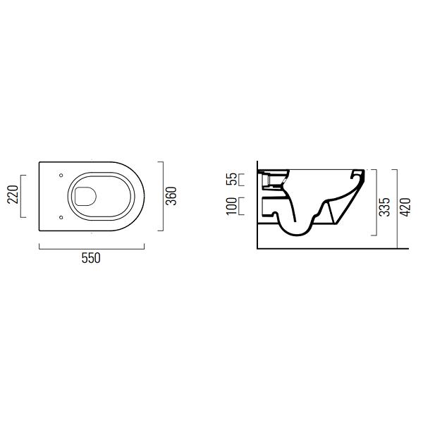 GSI Kube Flat 55 Wall Hung Pan And Soft Closing Seat-17240