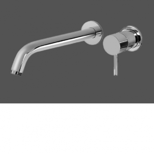 Graff ME Polished Chrome Wall Mounted Basin Mixer with 23.4cm Spout - Exposed Parts