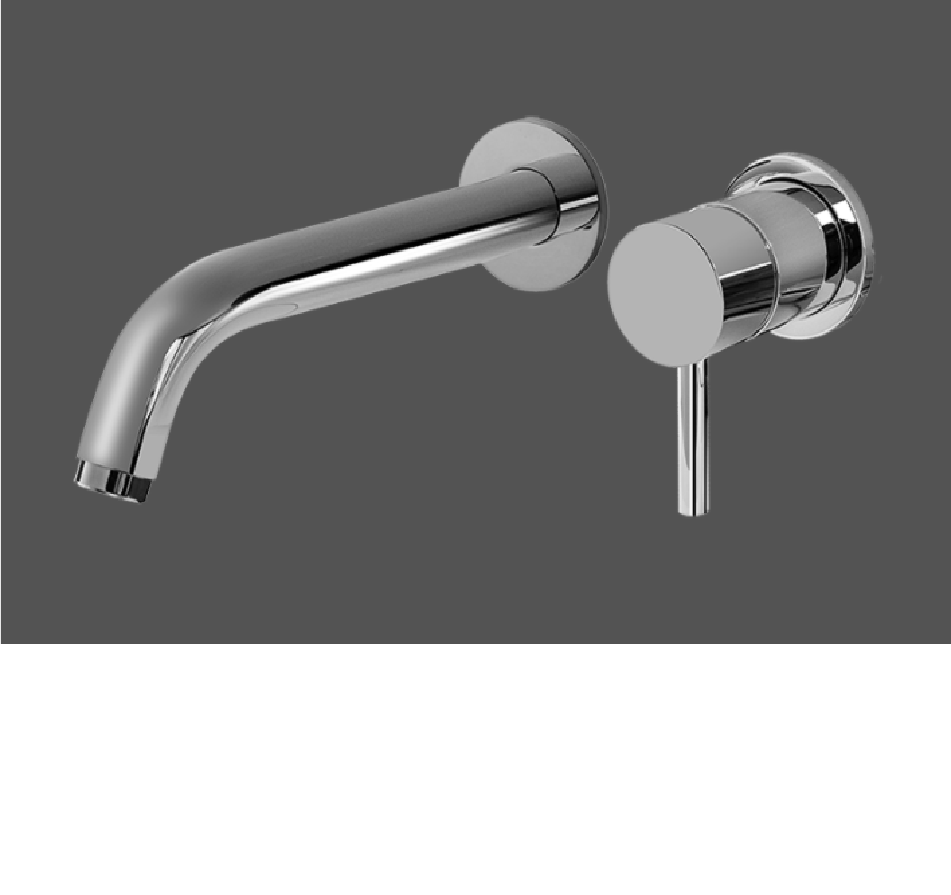 Graff ME Polished Chrome Wall Mounted Basin Mixer with 19cm Spout - Exposed Parts