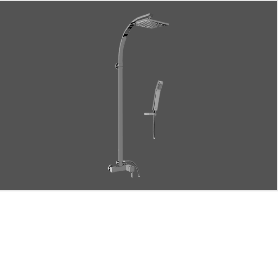 Graff Qubic Tre Polished Chrome Wall Mounted Shower System with Handshower and Showerhead