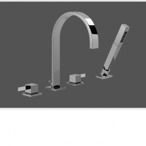 Graff Qubic Tre Polished Chrome Deck Mounted Bathtub Mixer with Hand Shower Set