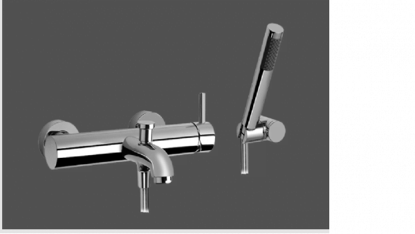 Graff ME25 Polished Chrome Wall Mounted Bath & Shower Mixer with Hand Shower Set