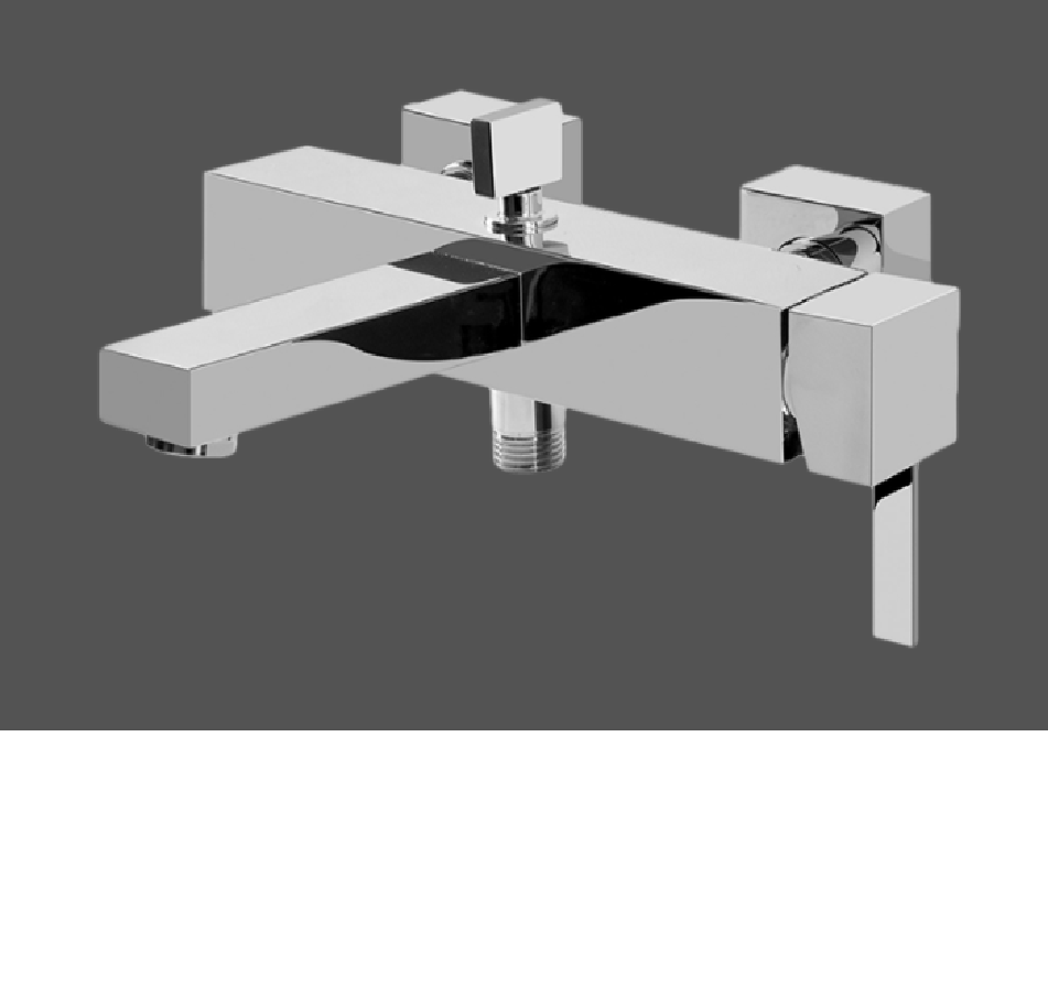 Graff Qubic Tre Polished Chrome Wall Mounted Bath & Shower Mixer