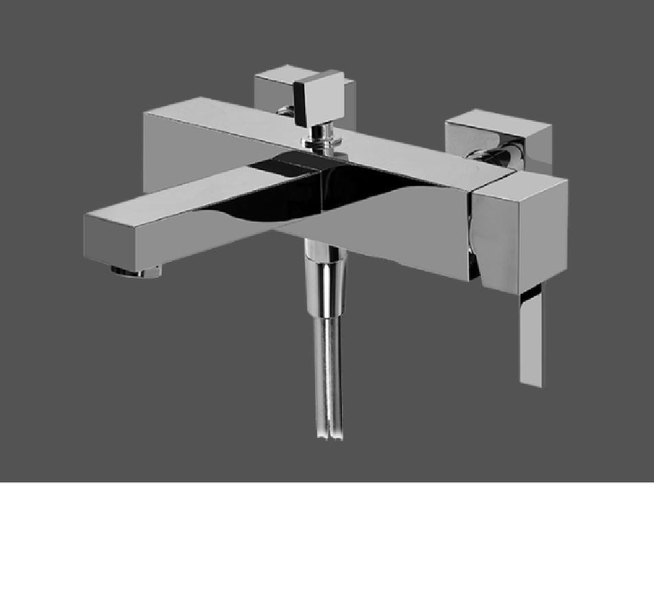 Graff Qubic Tre Polished Chrome Wall Mounted Bath & Shower Mixer With Hand Shower Set