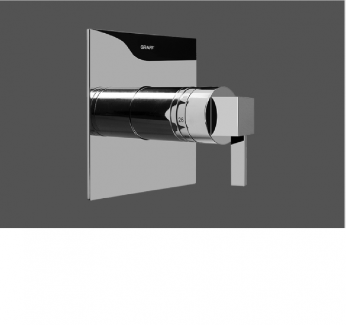 "Graff Qubic Tre Polished Chrome 1/2"" Concealed Thermostatic and Cut Off Valve - Exposed Parts"