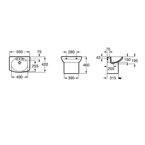 Roca Senso Compact 550x420mm 1 Tap Hole Cloakroom Basin-18558